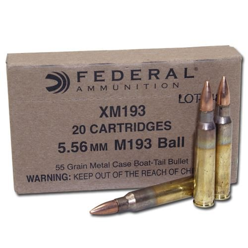 Federal XM193 5.56 55 gr. Ball Ammunition 500 Rd case