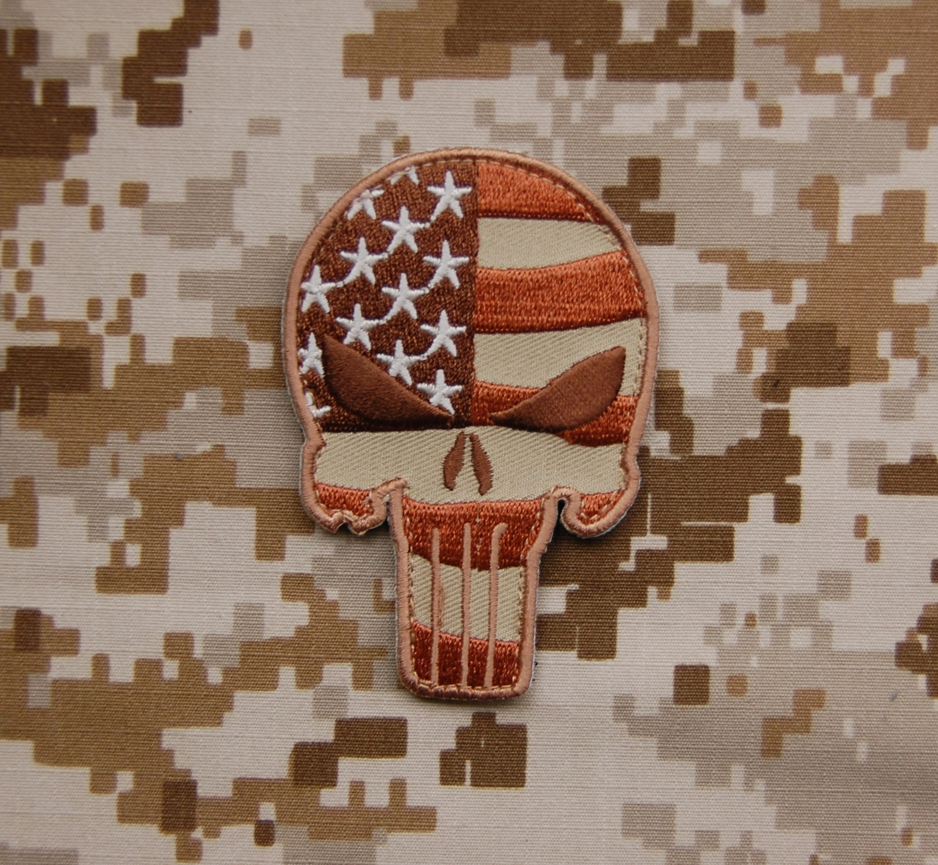 Patriotic Punisher Embroidered Patch AOR1 and Tan Compatible