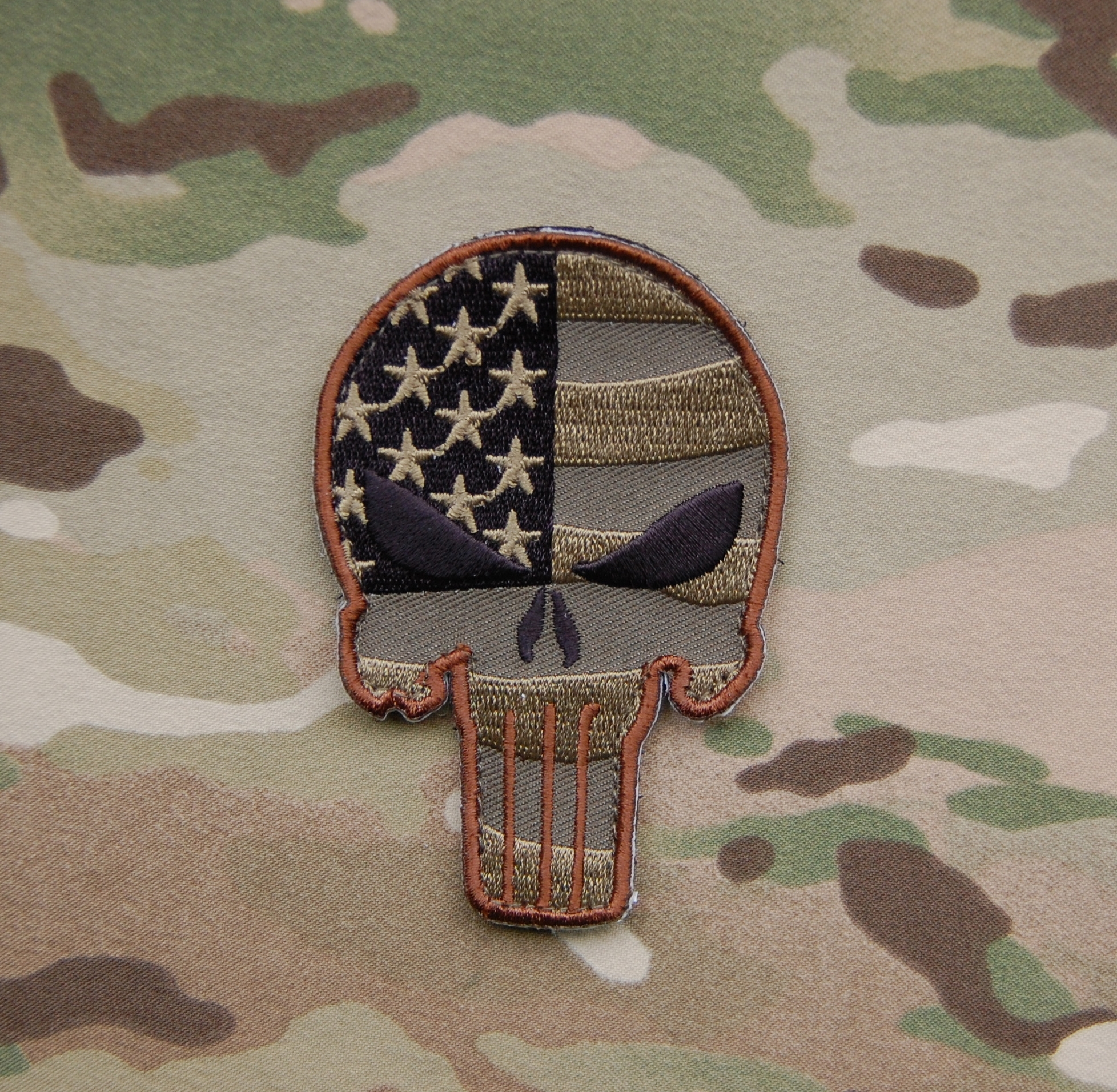 Patriotic Punisher Embroidered Patch Multicam and Woodland