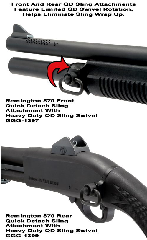 Remington 870 Quick Detach Front And Rear Sling Attachments